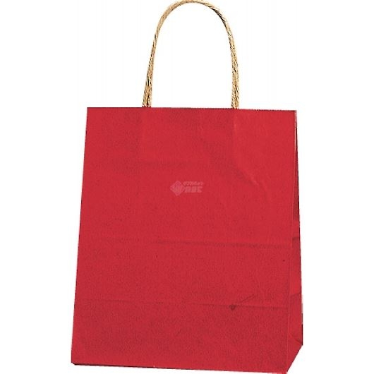 紙袋 カラーバッグ ペーパーバッグ 無地 (XS) 赤 21×12×25cm #3266300 画像1