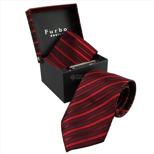 Furbo design フルボ ネクタイ&タイバー&カフス&チーフ 4点セット レッド系 21011681COLOR4 733163 404 画像1