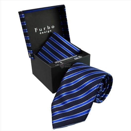 Furbo design フルボ ネクタイ&タイバー&カフス&チーフ 4点セット ネイビー系 21078501COLOR4 733361 406 画像1