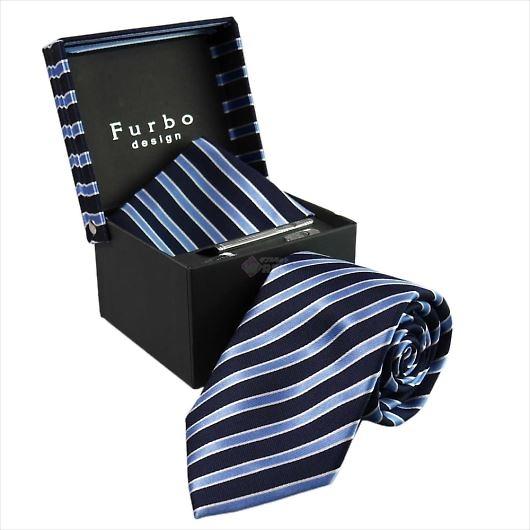 Furbo design フルボ ネクタイ&タイバー&カフス&チーフ 4点セット ネイビー系 21078501COLOR6 733482 408 画像1