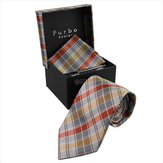 Furbo design フルボ ネクタイ&タイバー&カフス&チーフ 4点セット グレー×オレンジ系 21085631COLOR2 733808 409 画像1