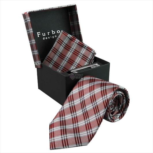 Furbo design フルボ ネクタイ&タイバー&カフス&チーフ 4点セット グレー×レッド系 21088331COLOR5 733813 413 画像1