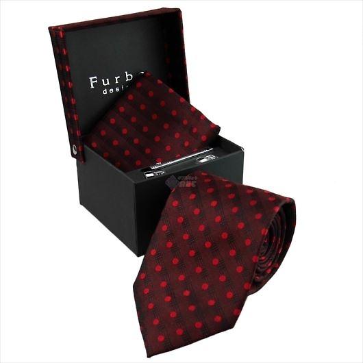Furbo design フルボ ネクタイ&タイバー&カフス&チーフ 4点セット レッド系 8000851COLOR3 733823 418 画像1