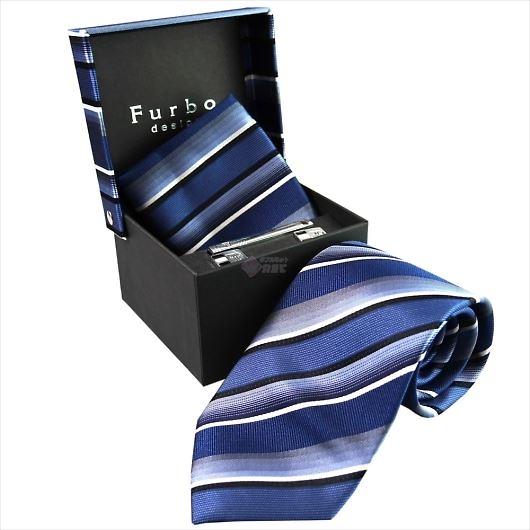 Furbo design フルボ ネクタイ&タイバー&カフス&チーフ 4点セット ネイビー系 8001054COLOR3 732854 421 画像1