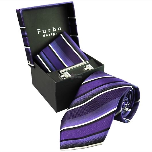 Furbo design フルボ ネクタイ&タイバー&カフス&チーフ 4点セット パープル系 8001054COLOR5 732873 422 画像1
