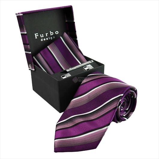 Furbo design フルボ ネクタイ&タイバー&カフス&チーフ 4点セット パープル系 8001054COLOR6 732878 423 画像1