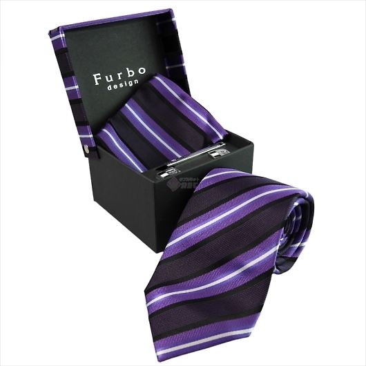 Furbo design フルボ ネクタイ&タイバー&カフス&チーフ 4点セット パープル系 8001114COLOR6 733128 426 画像1