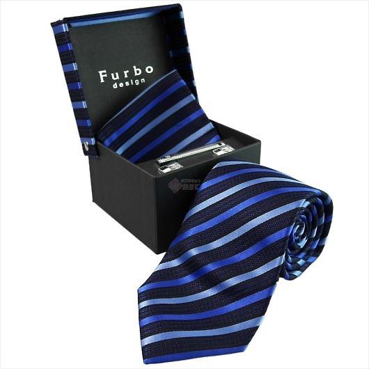 Furbo design フルボ ネクタイ&タイバー&カフス&チーフ 4点セット ネイビー系 8435533COLOR3 733198 431 画像1