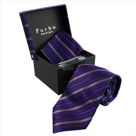 Furbo design フルボ ネクタイ&タイバー&カフス&チーフ 4点セット パープル系 8435533COLOR4 733342 432 画像1