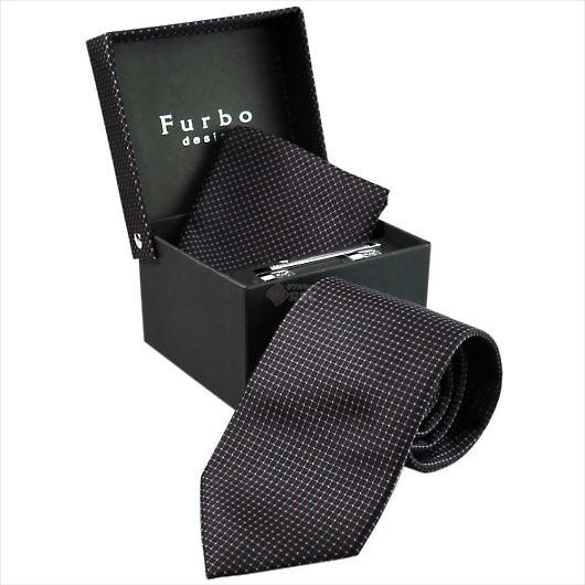 Furbo design フルボ ネクタイ&タイバー&カフス&チーフ 4点セット ブラック×ピンク系 8516022COLOR1 733867 436 画像1