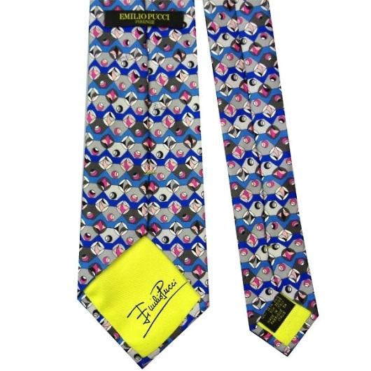 EMILIO PUCCI エミリオ プッチ 紳士 メンズ ネクタイ ブルー×グレー系 p8008x1 画像3