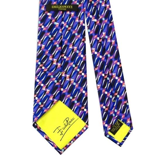 EMILIO PUCCI エミリオ プッチ 紳士 メンズ ネクタイ ブルー×ブラック系 p8006x4 画像3