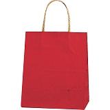 紙袋 カラーバッグ ペーパーバッグ 無地 (XS) 赤 21×12×25cm #3266300