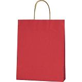 紙袋 カラーバッグ ペーパーバッグ 無地 (SS) 赤 27×8×34cm #3276803