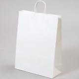紙袋 丸紐 ペーパーバッグ 白無地バッグ(L) 38×15×50cm #3280411