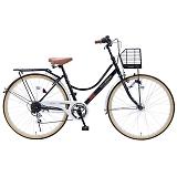 My Pallas マイパラス M-504-BK シティサイクル26インチ 6段変速自転車 オートライト ブラック