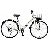 My Pallas マイパラス M-507-IV 折畳シティサイクル 26インチ 6段変速 折畳自転車 肉厚チューブ アイボリー