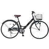 My Pallas マイパラス M-507-BK 折畳シティサイクル 26インチ 6段変速 折畳自転車 肉厚チューブ ブラック