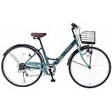 My Pallas マイパラス M-507-GR 折畳シティサイクル 26インチ 6段変速 折畳自転車 肉厚チューブ グリーン
