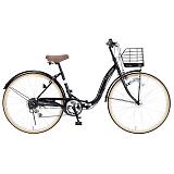 My Pallas マイパラス M-509-BK 折畳シティサイクル 26インチ 6段変速 折畳自転車 オートライト ブラック