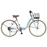 My Pallas マイパラス M-509-MT 折畳シティサイクル 26インチ 6段変速 折畳自転車 オートライト クールミント