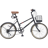 My Pallas マイパラス M-709-BK シティサイクル ミニベロ20インチ 6段変速 LEDライト 自転車 ブラック