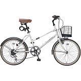 My Pallas マイパラス M-709-IV シティサイクル ミニベロ20インチ 6段変速 LEDライト 自転車 アイボリー