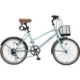 My Pallas マイパラス M-709-MT シティサイクル ミニベロ20インチ 6段変速 LEDライト 自転車 ミント
