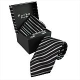 Furbo design フルボ ネクタイ&タイバー&カフス&チーフ 4点セット ブラック×グレー系 21011681COLOR1 733136 401