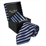 Furbo design フルボ ネクタイ&タイバー&カフス&チーフ 4点セット ネイビー系 21078501COLOR6 733482 408