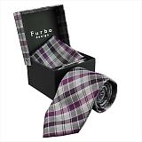 Furbo design フルボ ネクタイ&タイバー&カフス&チーフ 4点セット グレー×パープル系 21085631COLOR6 733810 411