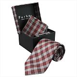 Furbo design フルボ ネクタイ&タイバー&カフス&チーフ 4点セット グレー×レッド系 21088331COLOR5 733813 413