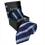 Furbo design フルボ ネクタイ&タイバー&カフス&チーフ 4点セット ネイビー系 8001114COLOR3 732907 424