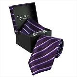 Furbo design フルボ ネクタイ&タイバー&カフス&チーフ 4点セット パープル系 SM1033COLOR5 733620 449