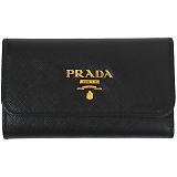 PRADA プラダ キーケース 1PG222 F0002 NERO QWA SAFFIANO METAL ORO ブラック×ゴールド
