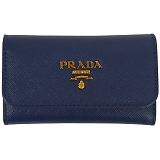 PRADA プラダ キーケース 1PG222 F0016 BLUETTE QWA SAFFIANO METAL ORO ブルー×ゴールド