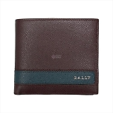 BALLY バリー LYITE.L ボタン小銭入れ付 二つ折り財布 メルロット 6208090
